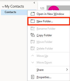 Address Book Outlook New Folder