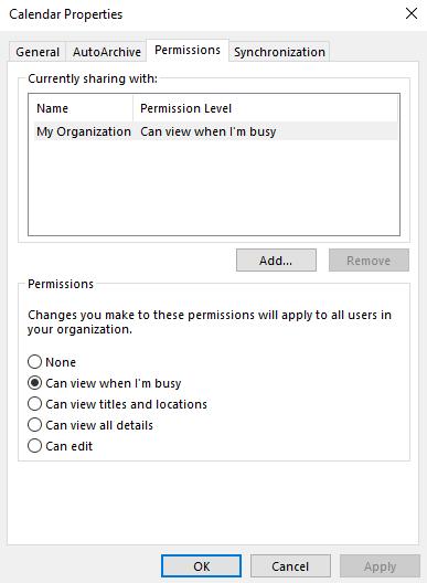 Outlook Calendar Permissions Ascendant