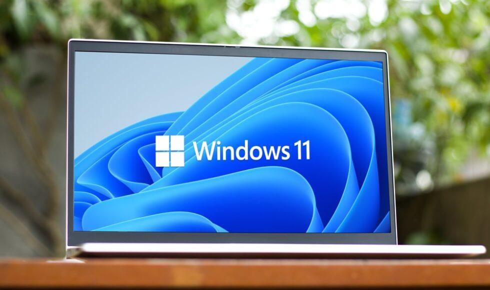 Windows 11 Laptop outside